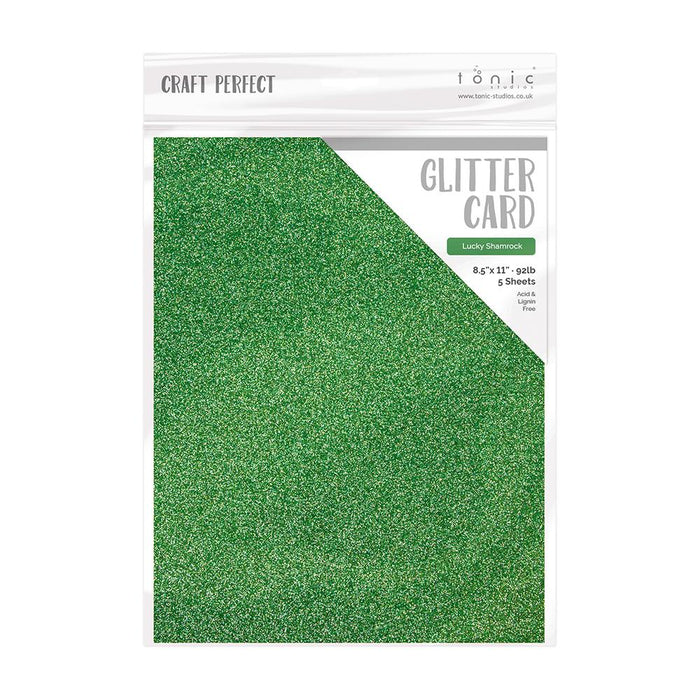 "Craft Perfect - Glitter Card - Lucky Shamrock - 8.5"" x 11"" - 5 Pack - 9965E - tonicstudios"