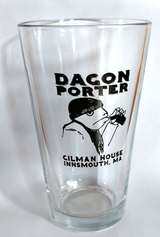 A Dagon Porter pint glass against a white background