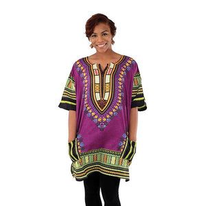 King-Sized Traditional Dashiki: Purple 1X - B&R African Styles
