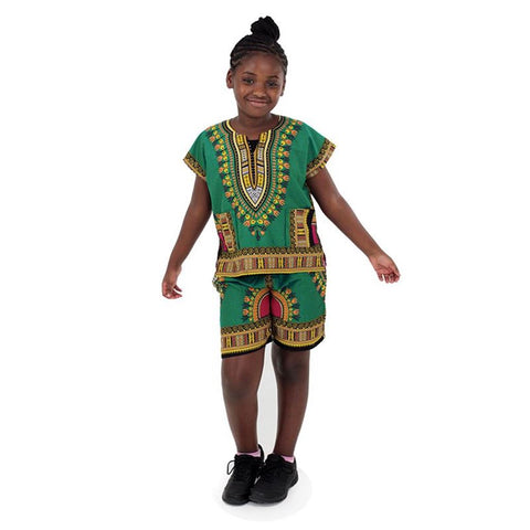 Kids Dashiki Set: Green