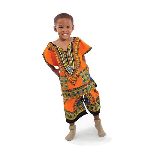 Kids Dashiki Set: Orange - B&R African Styles