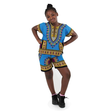 Kids Dashiki Set: Turquoise
