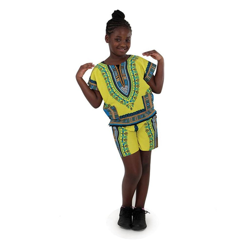 Kids Dashiki Set: Yellow - B&R African Styles