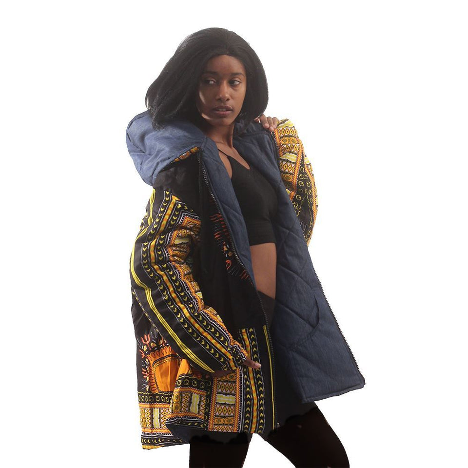 Traditional Dashiki Hoodie: Unisex Black/Yellow Reversible / Denim Jacket