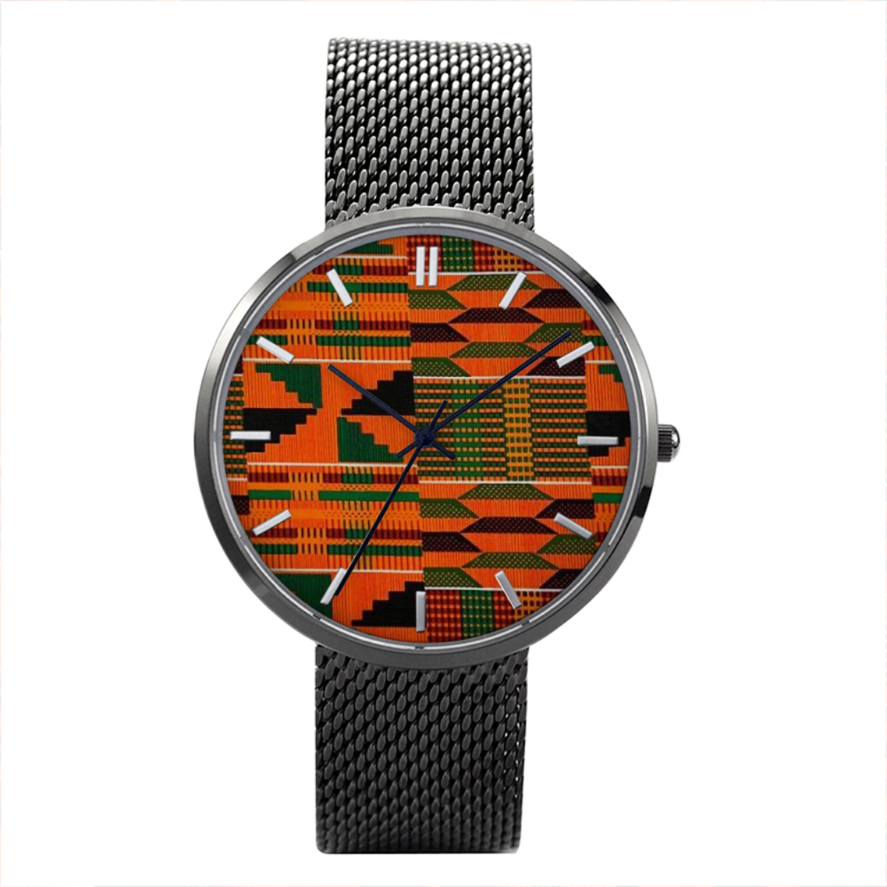 Kente - 30 Meters Waterproof Quartz Fashion Watch With Casual Stainless Steel Band - B&R African Styles
