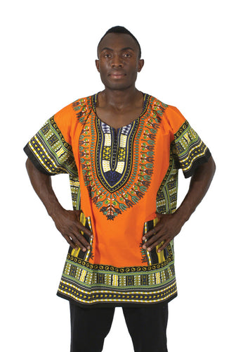 King-Sized Dashiki: Orange 1X - B&R African Styles
