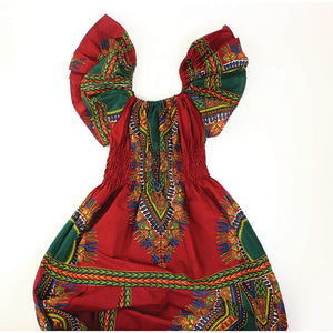 Burgundy Print Princess Dress - B&R African Styles