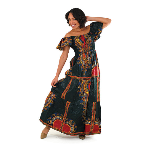Dark Green Print Princess Dress - B&R African Styles