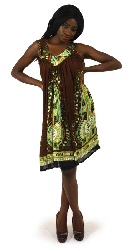 Short/Dark Brown Sundress - B&R African Styles