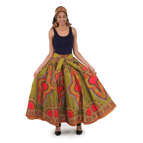 Olive Maxi Skirt - B&R African Styles