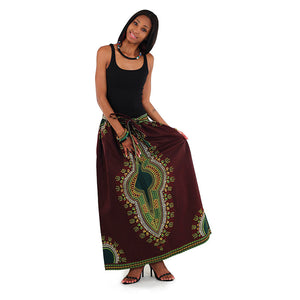 Brown Elastic Skirt Traditional Dashiki Print - B&R African Styles