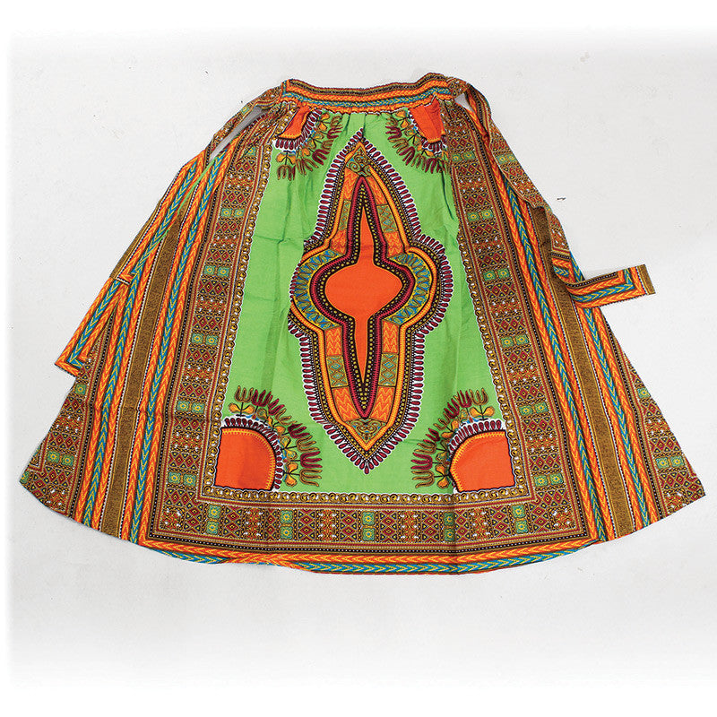 Lime Elastic Skirt Traditional Dashiki Print - B&R African Styles