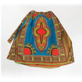 Teal Elastic Skirt Traditional Dashiki Print - B&R African Styles