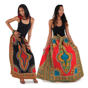 Black Elastic Skirt Traditional Dashiki Print - B&R African Styles