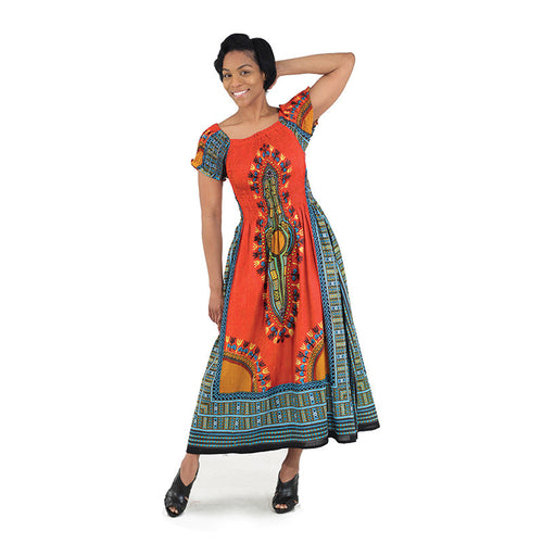 Orange Print Elegance Dress - B&R African Styles
