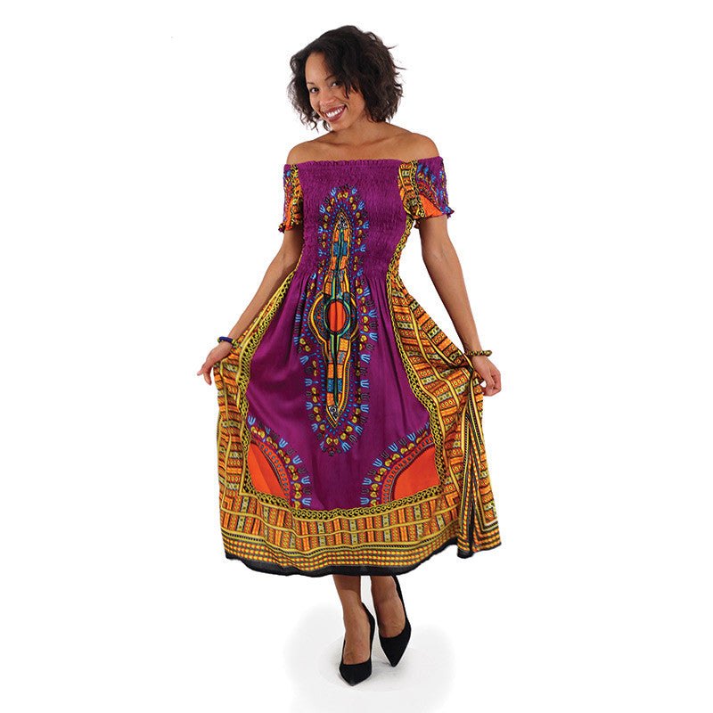 Purple Print Elegance Dress - B&R African Styles