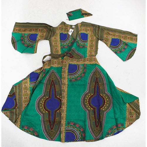 Green Print Wrap Dress - B&R African Styles