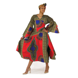 Red Print Wrap Dress - B&R African Styles