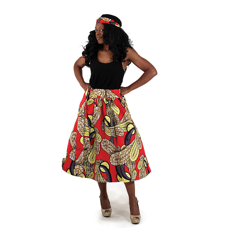 Red Feathers Print Skirt - B&R African Styles