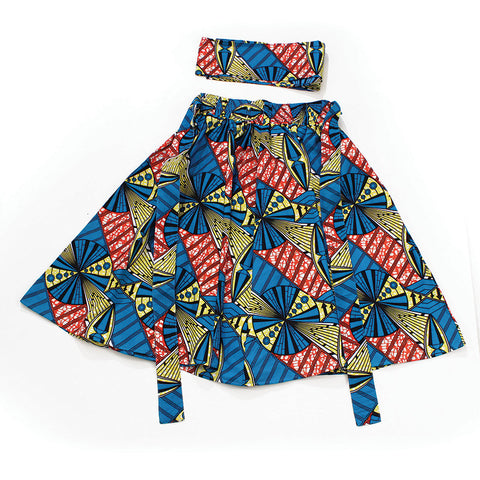 Turquoise/Yellow/Red Print Skirt