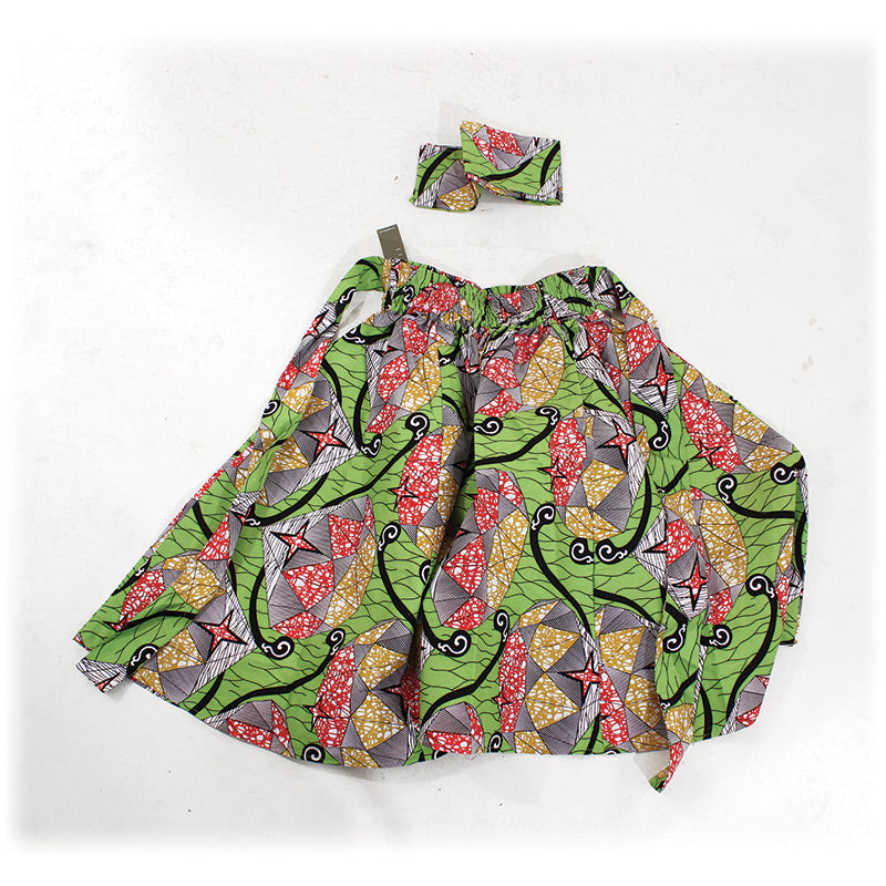 Lime w/Red Stars Print Skirt - B&R African Styles