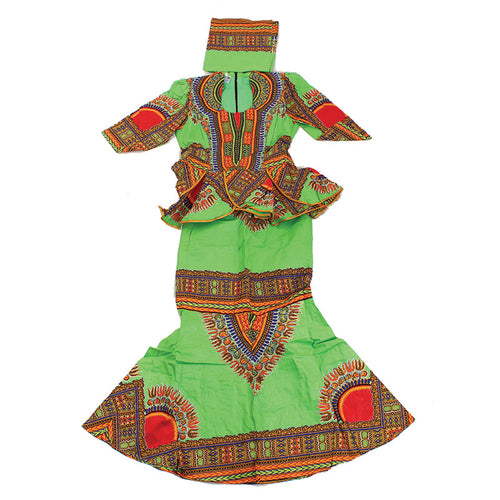 Lime ( Size 24) Luxury Skirt Set - B&R African Styles