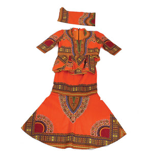 Orange (Size:26) Luxury Skirt Set - B&R African Styles