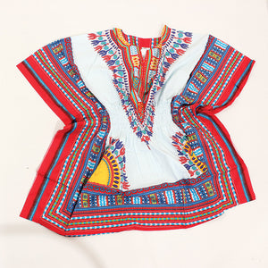 White/Red Elastic Dashiki - B&R African Styles