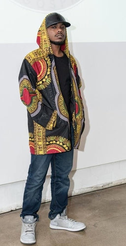 Traditional Dashiki Hoodie: Black - B&R African Styles