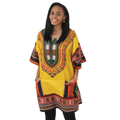 King-Sized Traditional Dashiki: Gold