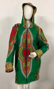 Traditional Dashiki Hoodie: Green - B&R African Styles