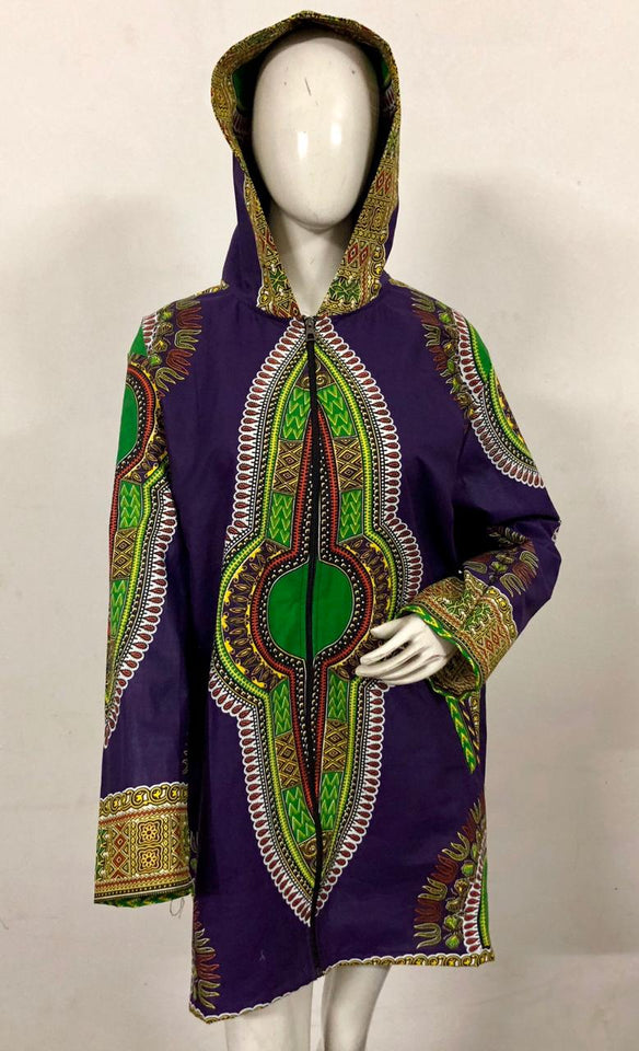 Traditional Dashiki Hoodie: Purple - B&R African Styles