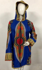 Traditional Dashiki Hoodie: Blue - B&R African Styles
