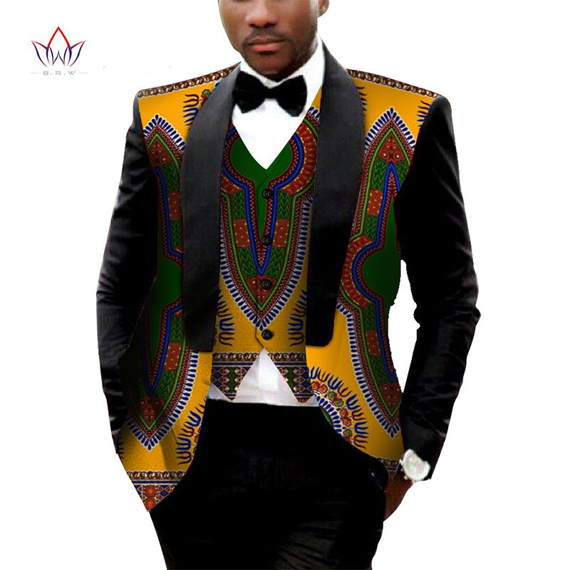 Orange Dashiki Blazer Men's Jacket + Vest  Slim Suit - B&R African Styles