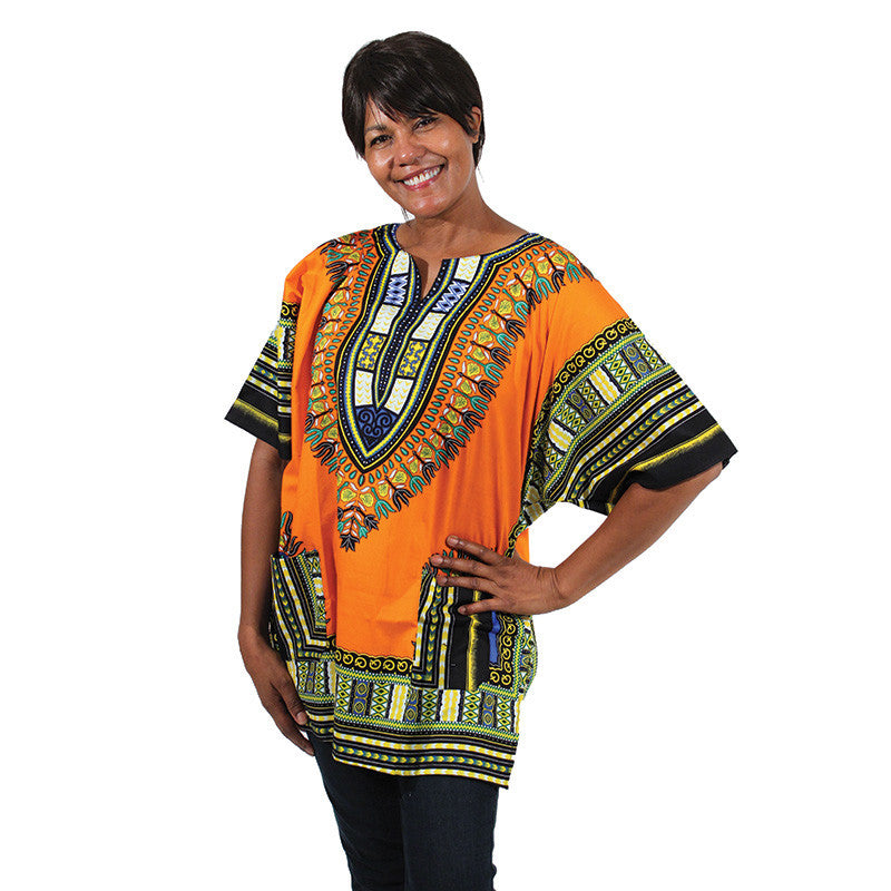 Traditional Dashiki: Orange - B&R African Styles