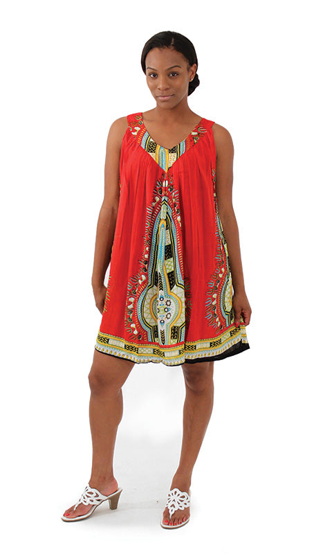 Short/Red Sundress - B&R African Styles