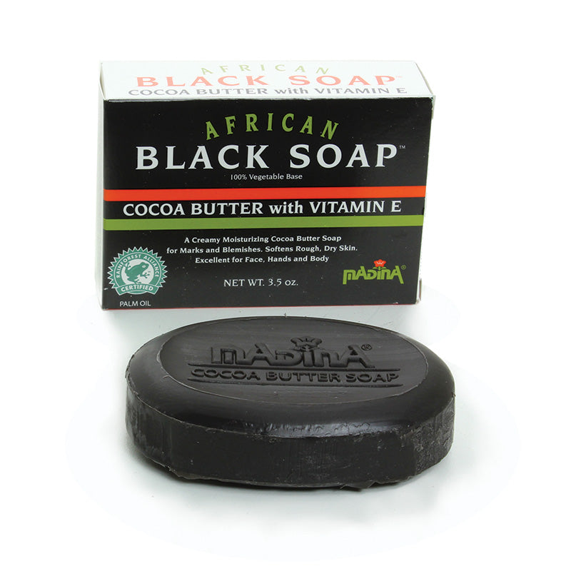 3 1/2 oz Black Soap African Cocoa Butter - B&R African Styles