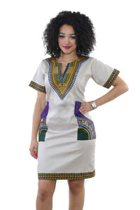 Traditional Dashiki Mini Dress For Women - B&R African Styles