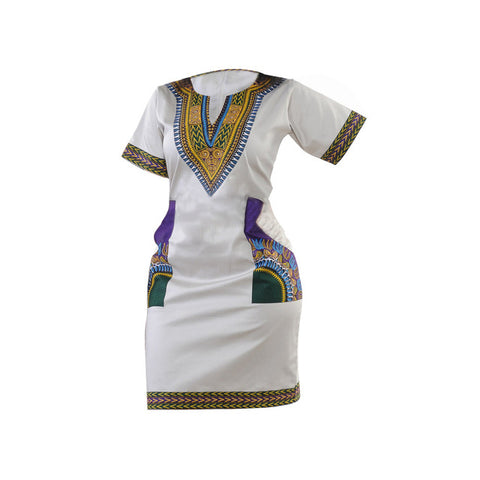 Traditional Dashiki Mini Dress For Women