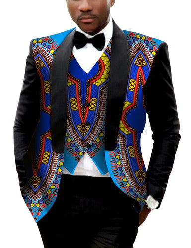 Men's Printed Dashiki Blazer Men Jacket + Vest Slim Suits - B&R African Styles