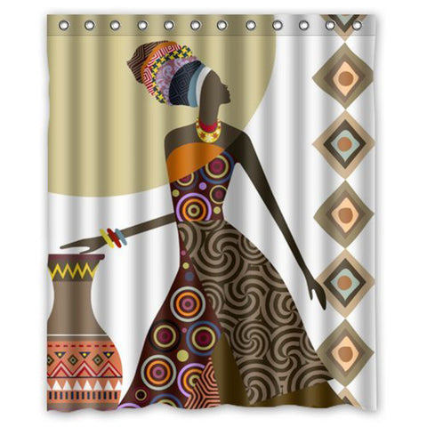African Woman Fabric Mutilcolor  Waterproof Bathroom Shower Curtain