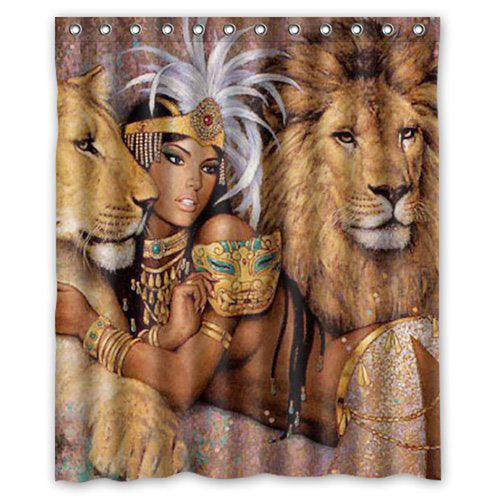 African Queen and Lions Fabric Waterproof Bathroom Shower Curtain - B&R African Styles