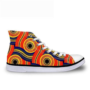 Cool Dashiki  Kente African Style  Men's High Top Canvas Shoes Lace-up - B&R African Styles