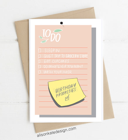 Birthday To Do - Card