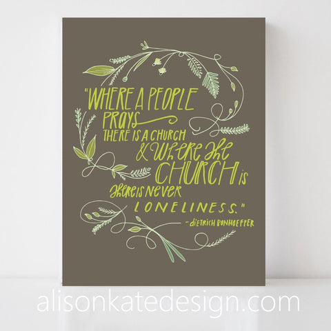 Bonhoeffer, On Prayer - Art Print