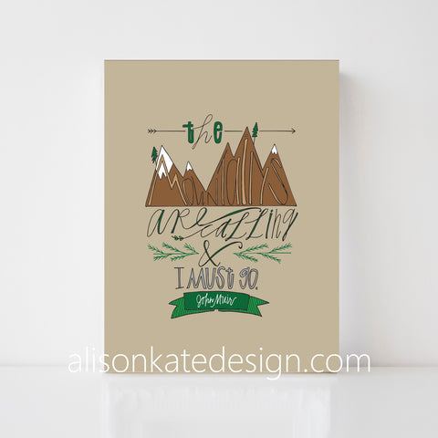 John Muir - Mountains Illustration