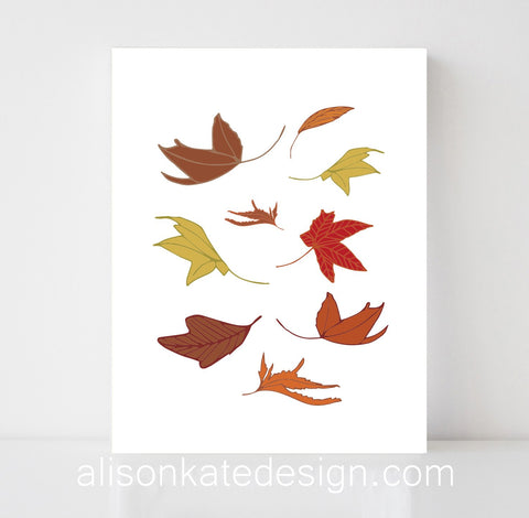 Falling Leaves - Illustrative Art Print
