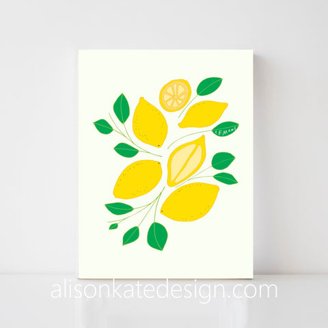 Lemons - Illustrated Art Print