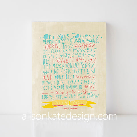 Mother Teresa Quote - Hand Lettered Art Print