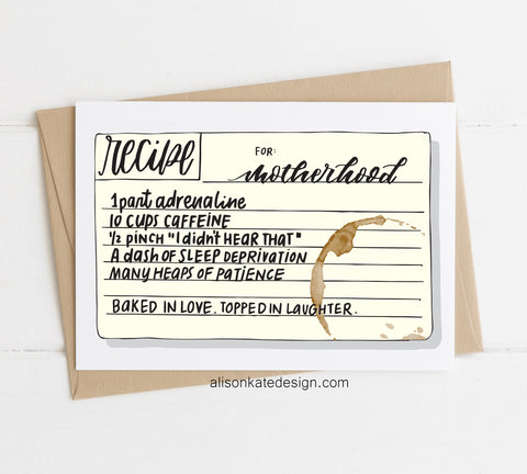 Recipe for Motherhood - Card